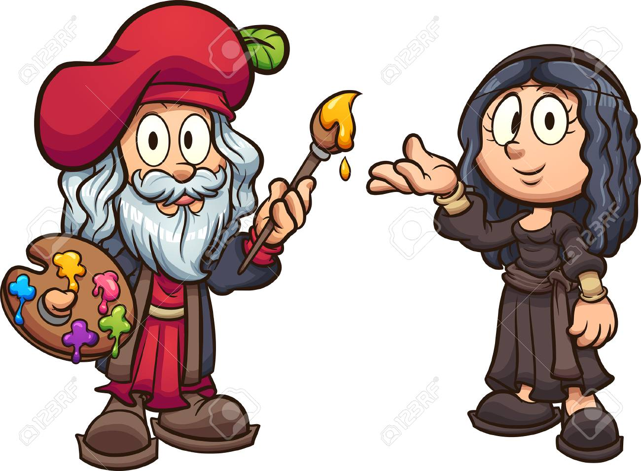 Cartoon boy and girl disguised as Leonardo da Vinci and the Mona...