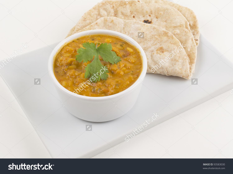 Tarka Daal Chapati On White Background Stock Photo 93583030.