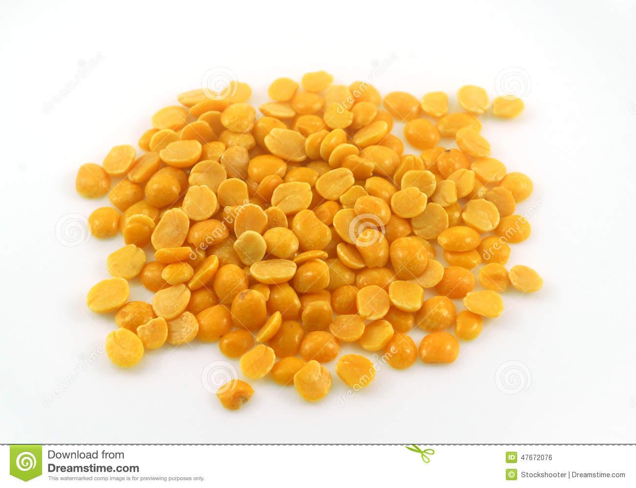 Yellow Arhar Toor Lentil Dal Grain Stock Photo.