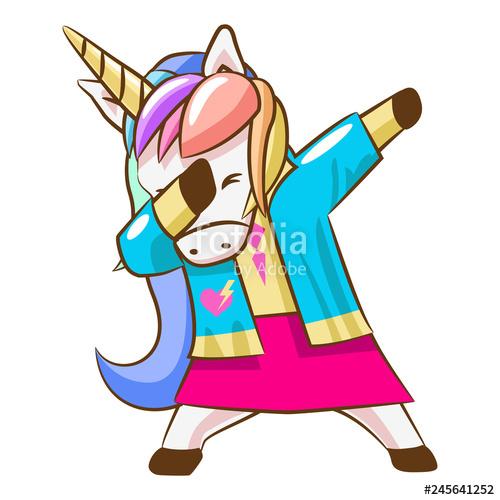 unicorn dabbing clipart