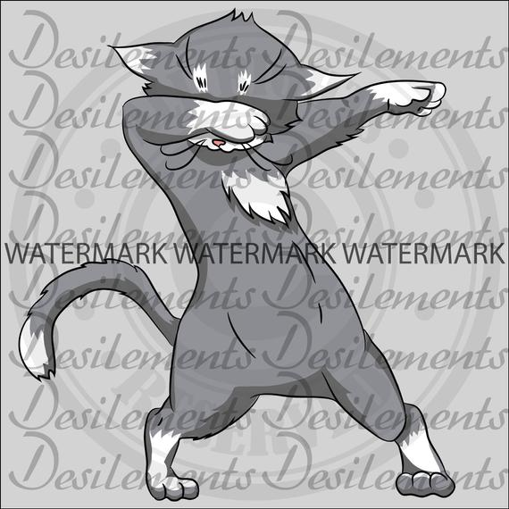 Gray Cat, Dabbing Clipart, Dab dance, ClipArt, Commercial license,PNG,  digital art, extended license, license art, instant download, design.