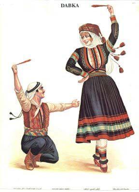 Lebanese traditional dress and Dabke. Dabke is a modern.