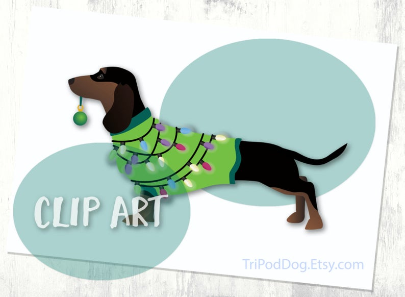 Black and Tan Dachshund Christmas Clip Art.