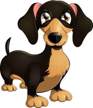 Clip Art of Cartoon Dachshund Dog.