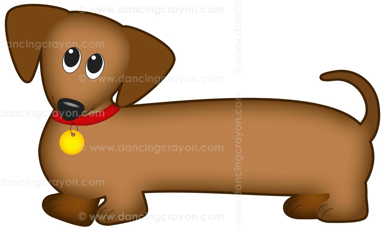 Dog Clip Art: Dachshund Dog (Wiener Dog / Sausage Dog).