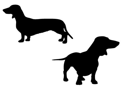Cute and playful Dachshund pups in Silhouette Vector format.