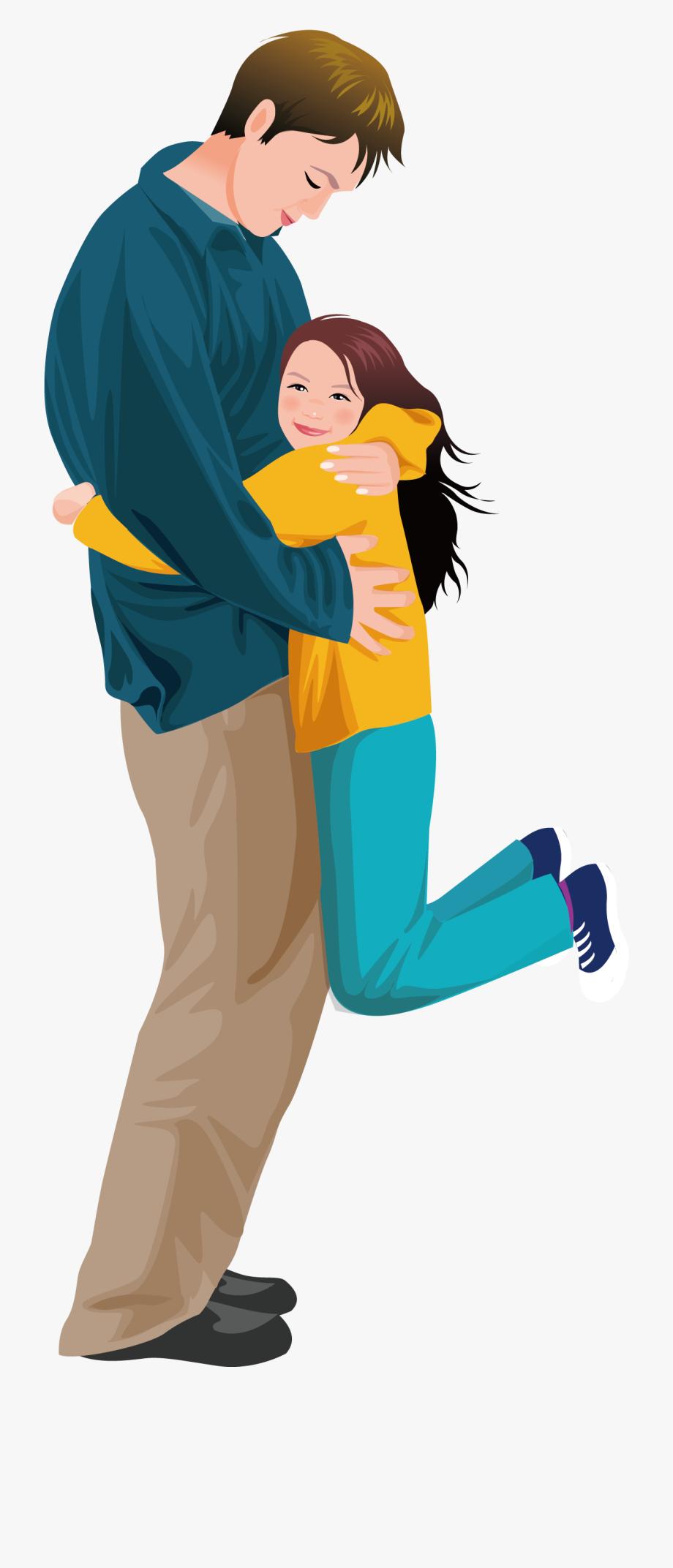 Father Daughter Hug Girl Illustration.