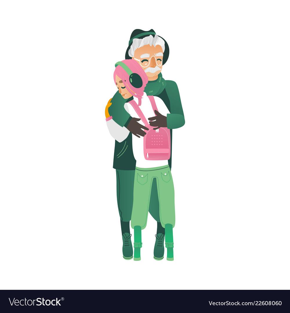 Cartoon father hugs daughter girl outdoors.