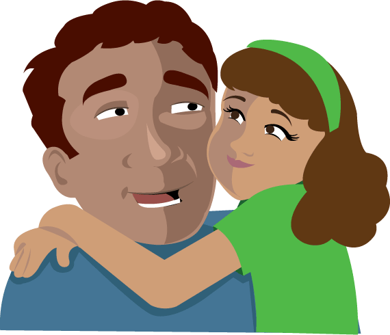 Dad Hugging Daughter Clipart.