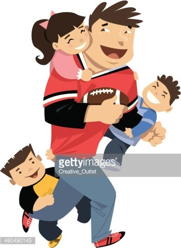 Dad Kids Playing C Stock Vector.