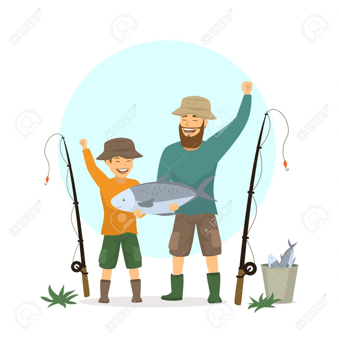 Happy excited father and son fishing scene, isolated vector illustration..