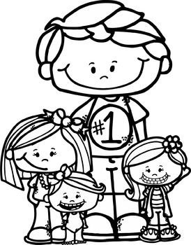Freebie Dad and Kids clipart.
