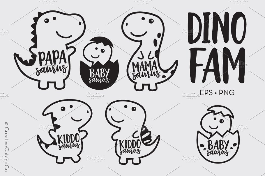 Dinosaur Family Cartoon Vector PNG ~ Illustrations.