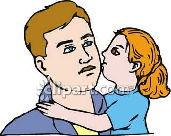 Daughter Kissing Daddy Clip Art.