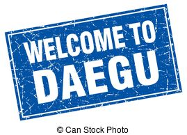 Daegu blue square grunge welcome to stamp Vector Clipart Royalty.