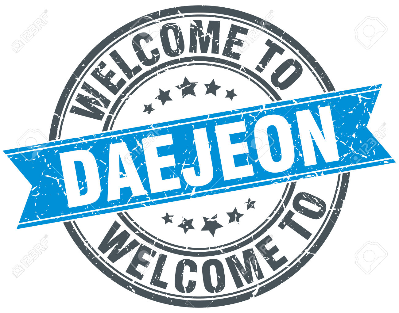 Welcome To Daejeon Blue Round Vintage Stamp Royalty Free Cliparts.