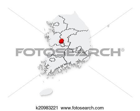 Clipart of Map of Daejeon, Sejong. South Korea. k20983221.