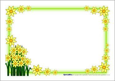 St David\'s Day daffodil A4 page borders (SB1248.