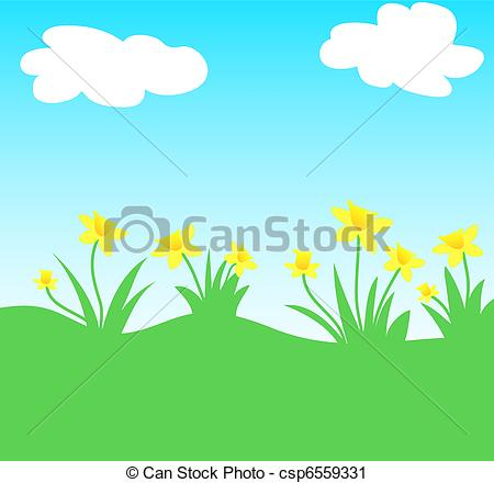 Clipart of Daffodil flowers field csp6559331.