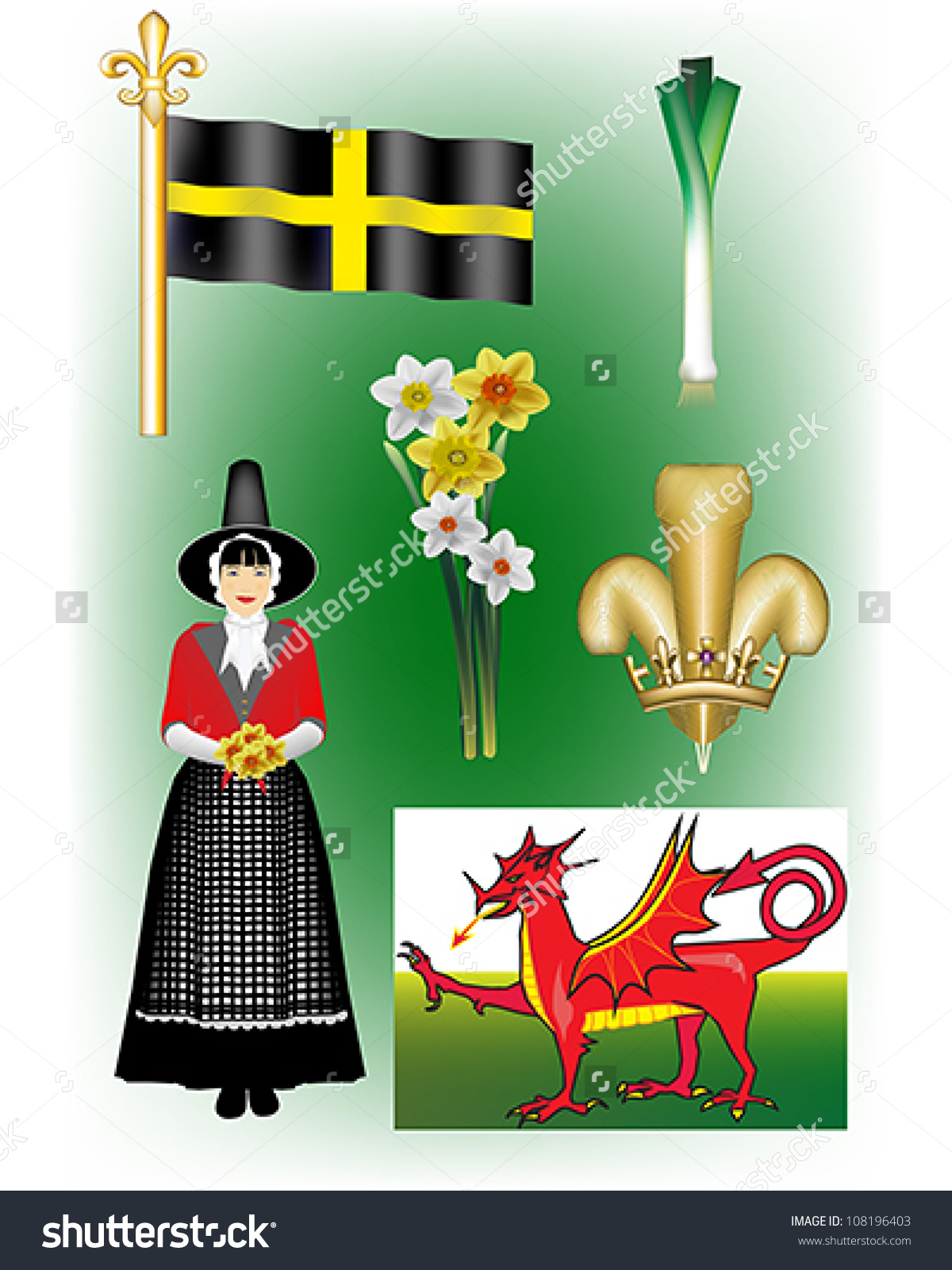 Welsh Vector Illustrations St Davids Flag Stock Vector 108196403.