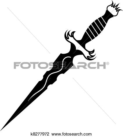 Clipart of Dagger with barbed wire k7266842.