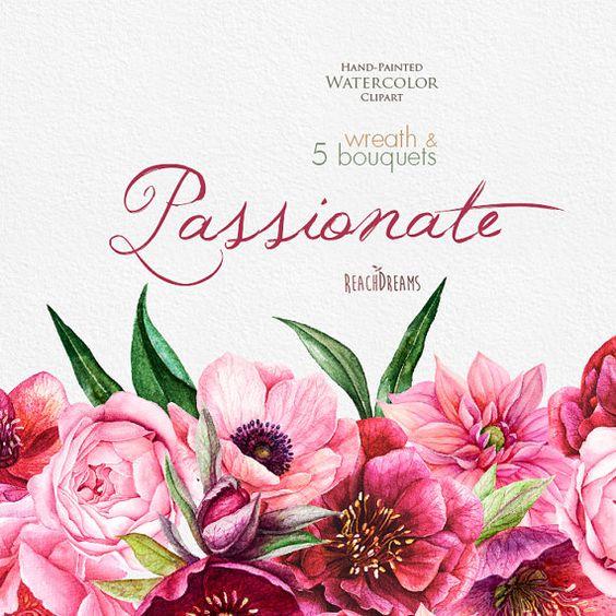Watercolor Peonies, Roses, Anemones, Dahlias clipart, Fuchsia.