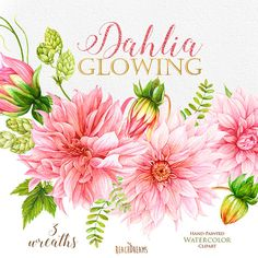 Watercolor Peonies Roses Anemones Dahlias clipart by ReachDreams.