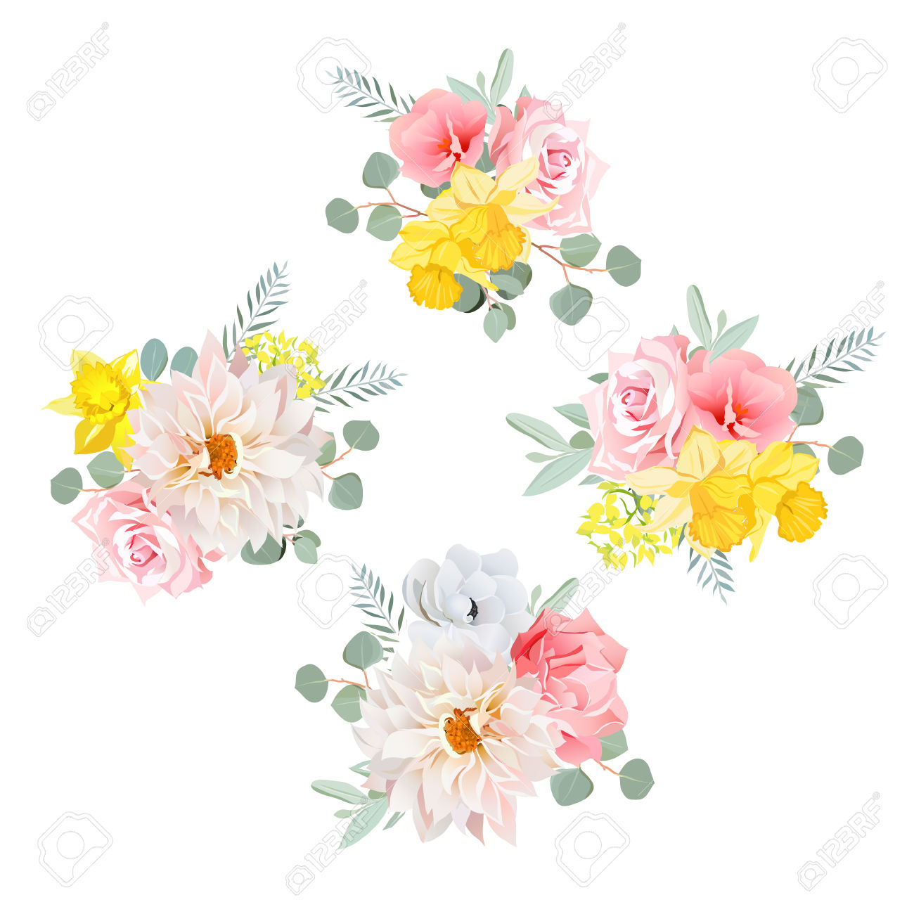 Bouquets Of Dahlia, Rose, Narcissus, Anemone, Pink Flowers And.