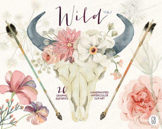 Watercolor floral bull skull, horn, peony, roses, dahlia, arrows.