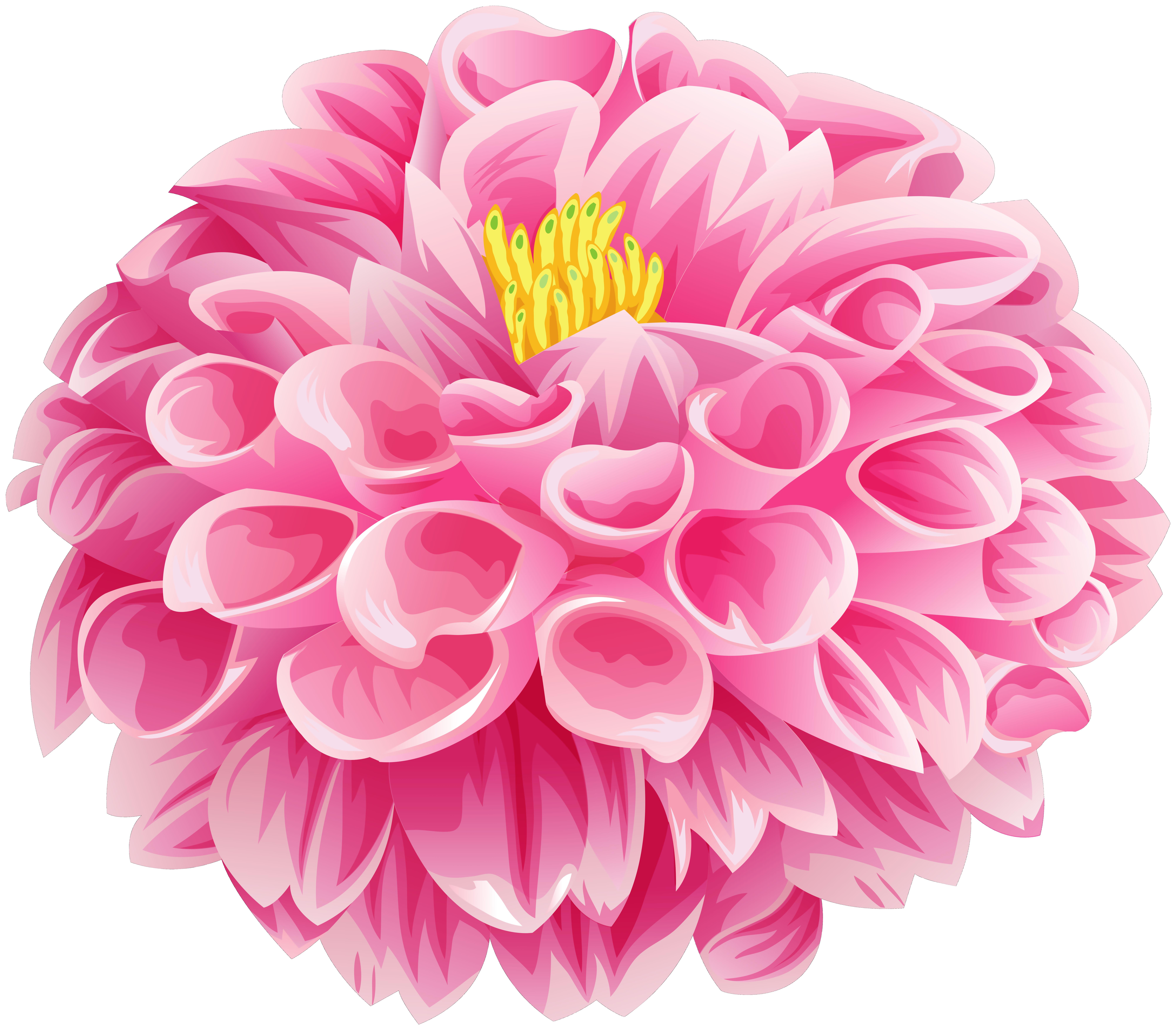 Pink Dahlia Flower Clip Art Image.