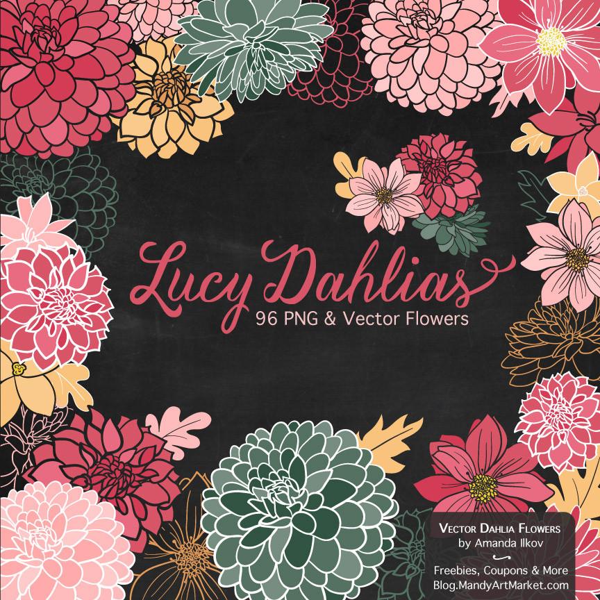 Dahlia Clipart in Rose Garden.