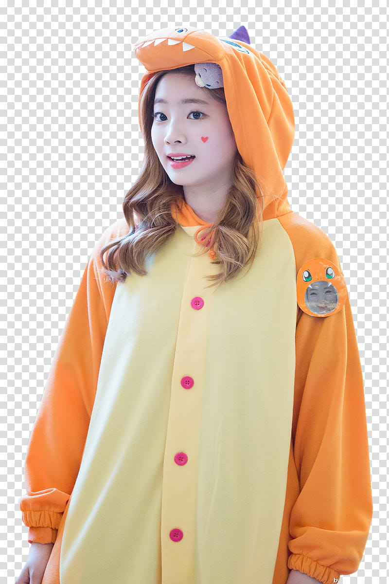 DAHYUN TWICE, woman pointing her head transparent background PNG.