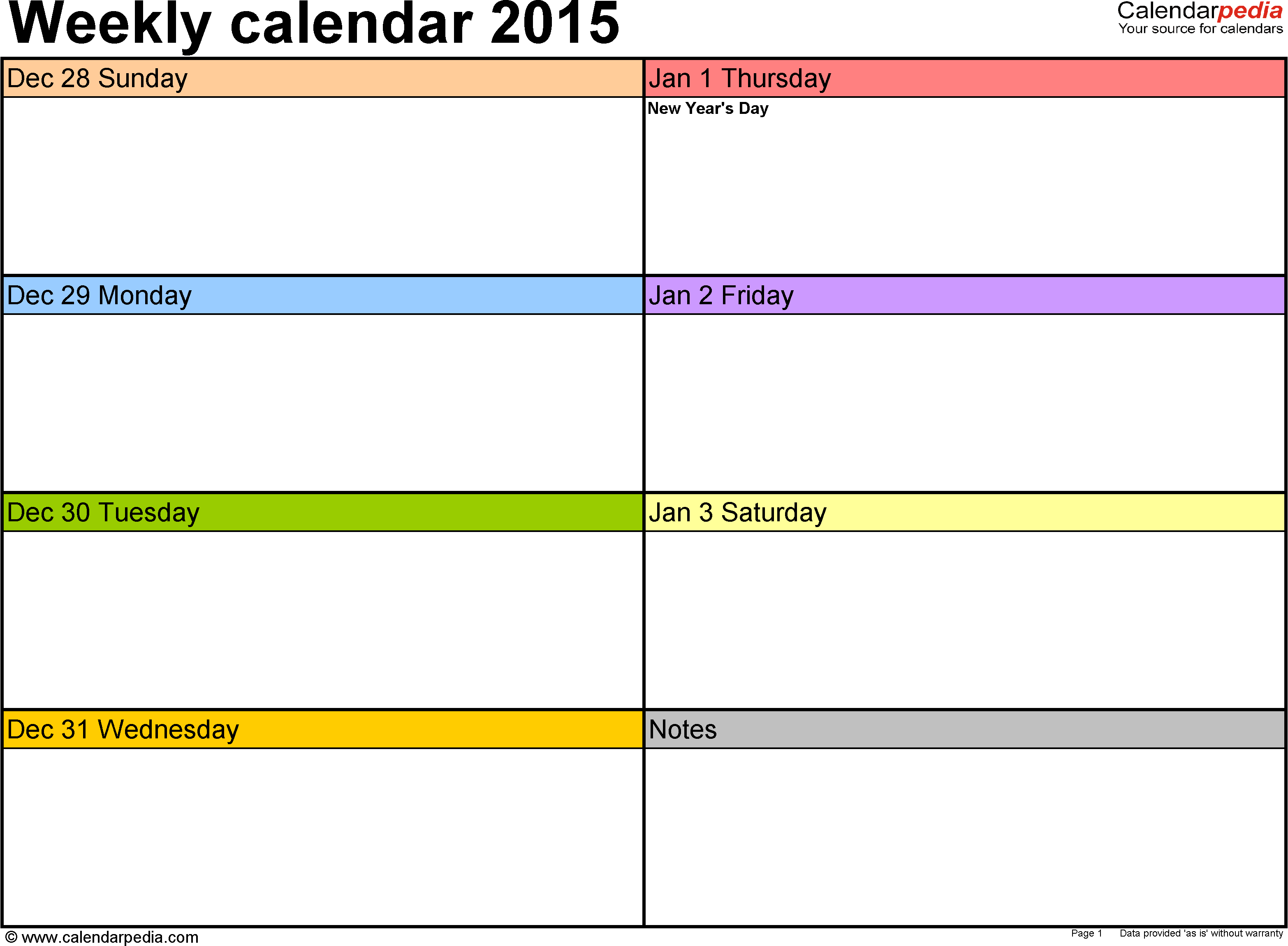 Daily Calendar Page 2015 Clipart.