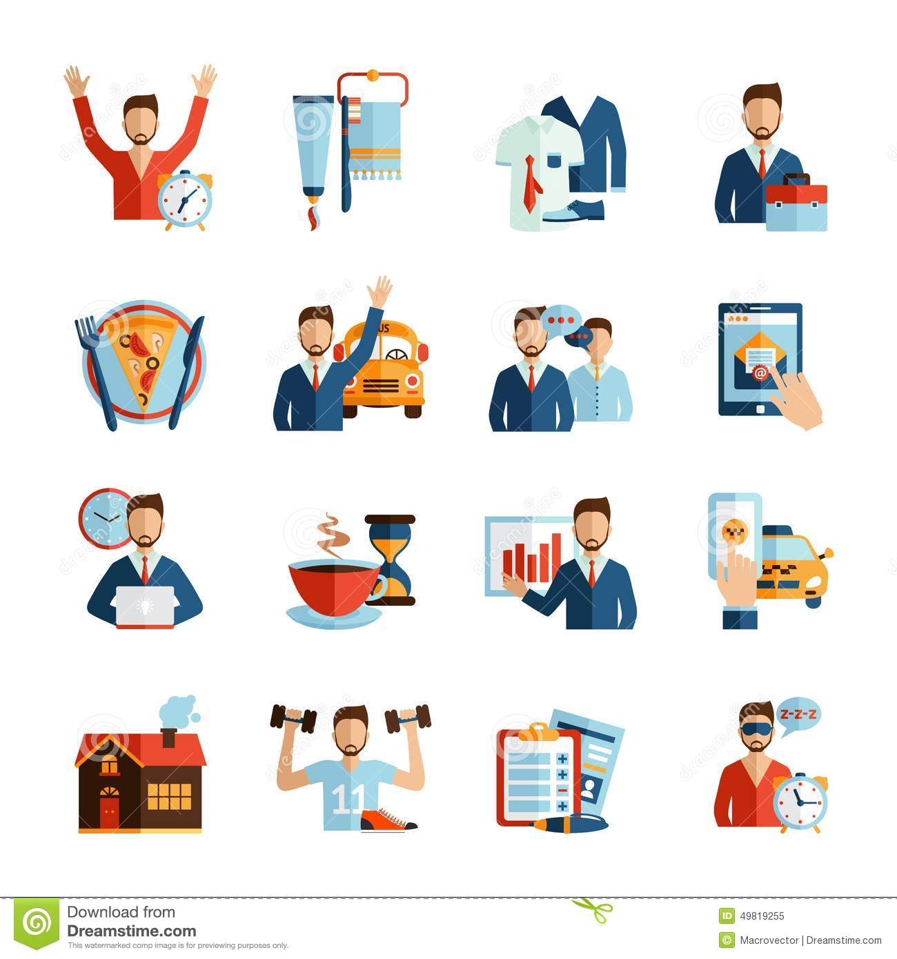 Man Daily Routine Icons Stock Vector.