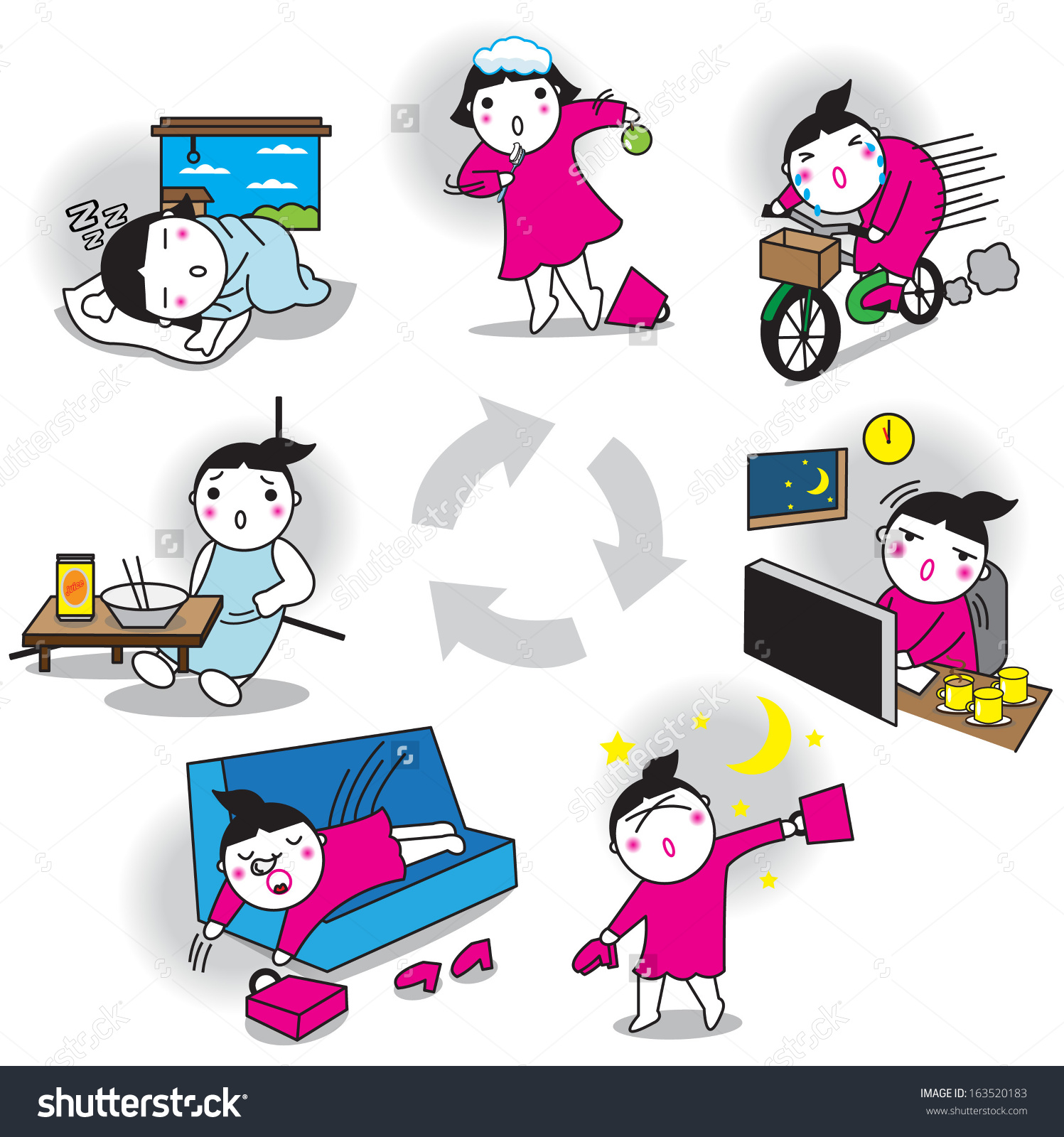 Working Girls Life Cycle Daily Life Stock Vector 163520183.