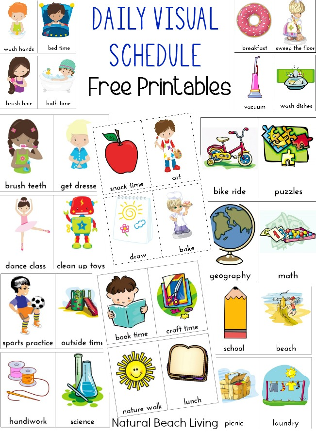 Kindergarten daily schedule clipart.