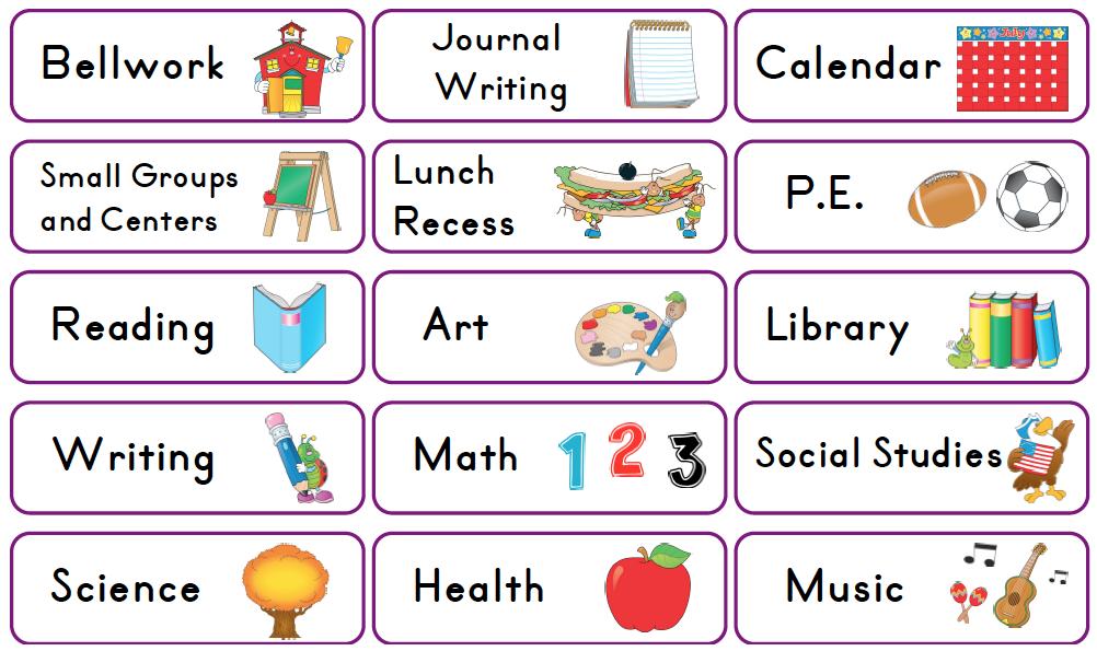 Daily School Schedule Clipart.