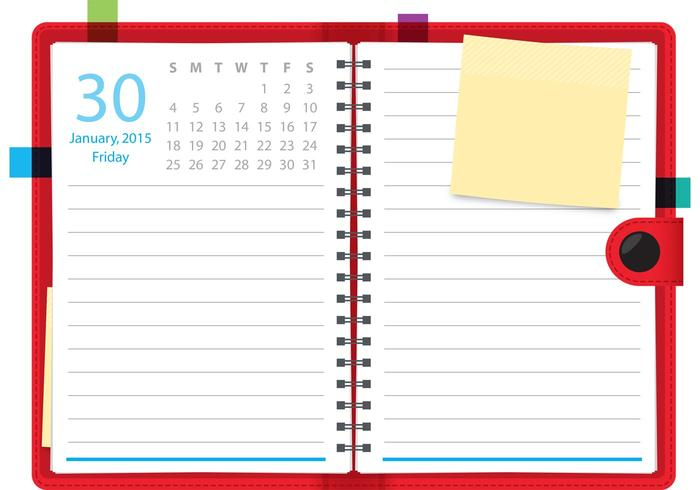 Daily Planner Vector Notebook.