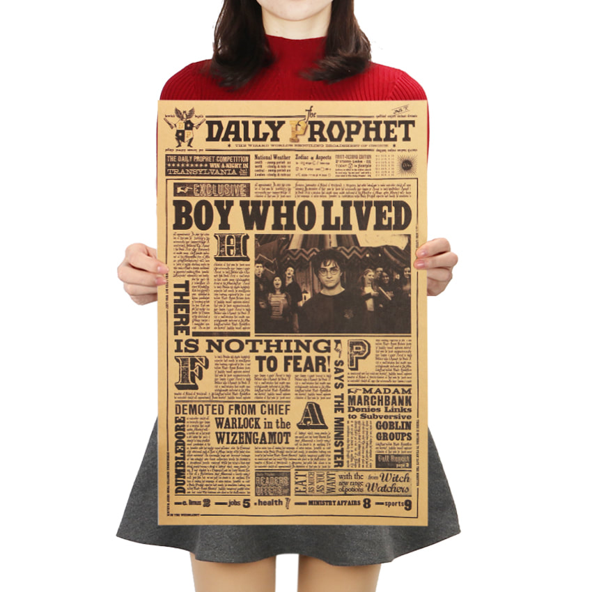 Details about Classic Harry Potter Daily Prophet Movie Kraft Paper Poster  Bar Cafe Decorative.