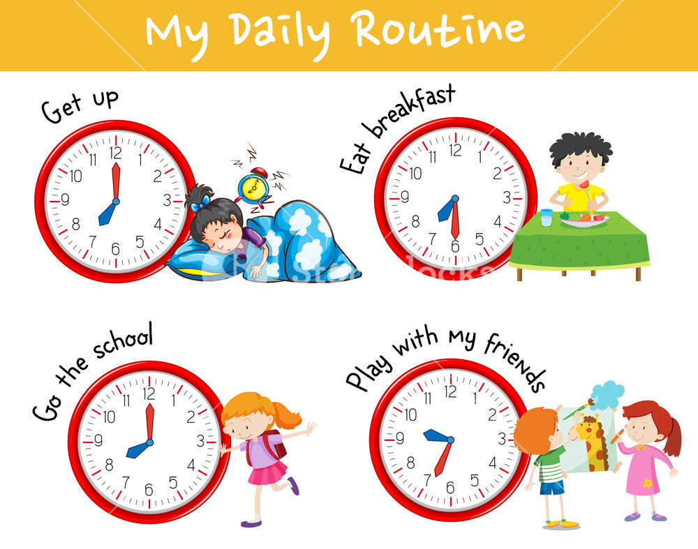 Activity chart showing different daily routine of kids Royalty.