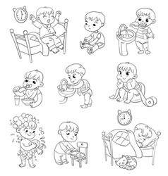 Cartoon Boy Daily Routine Activity Set Vector Images (62).