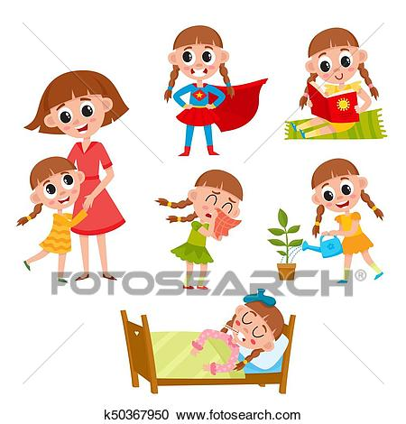 Little girl, daily routine set Clipart.