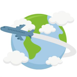 Airplane Flying Around World SVG cutting file earth svg cut file.