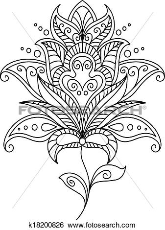 Clip Art of Intricate dainty floral motif design element k18200826.