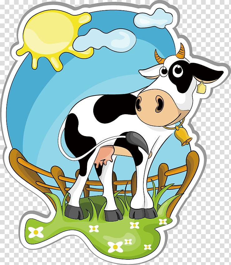 Holstein Friesian cattle Dairy farming , Creative Cow Cartoon.