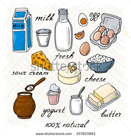 Milk and milk products clipart.