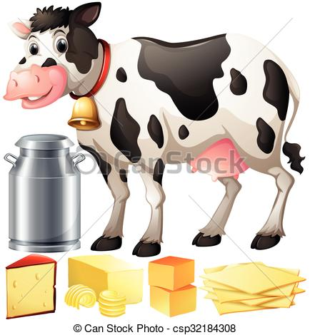 Vector Clipart of Cow and dairy products illustration csp32184308.