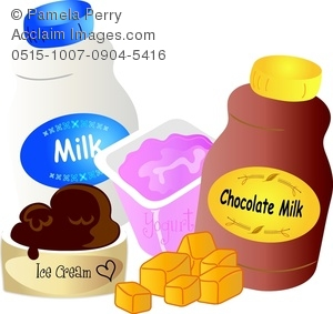 Clip Art Image of Various Dairy Products.