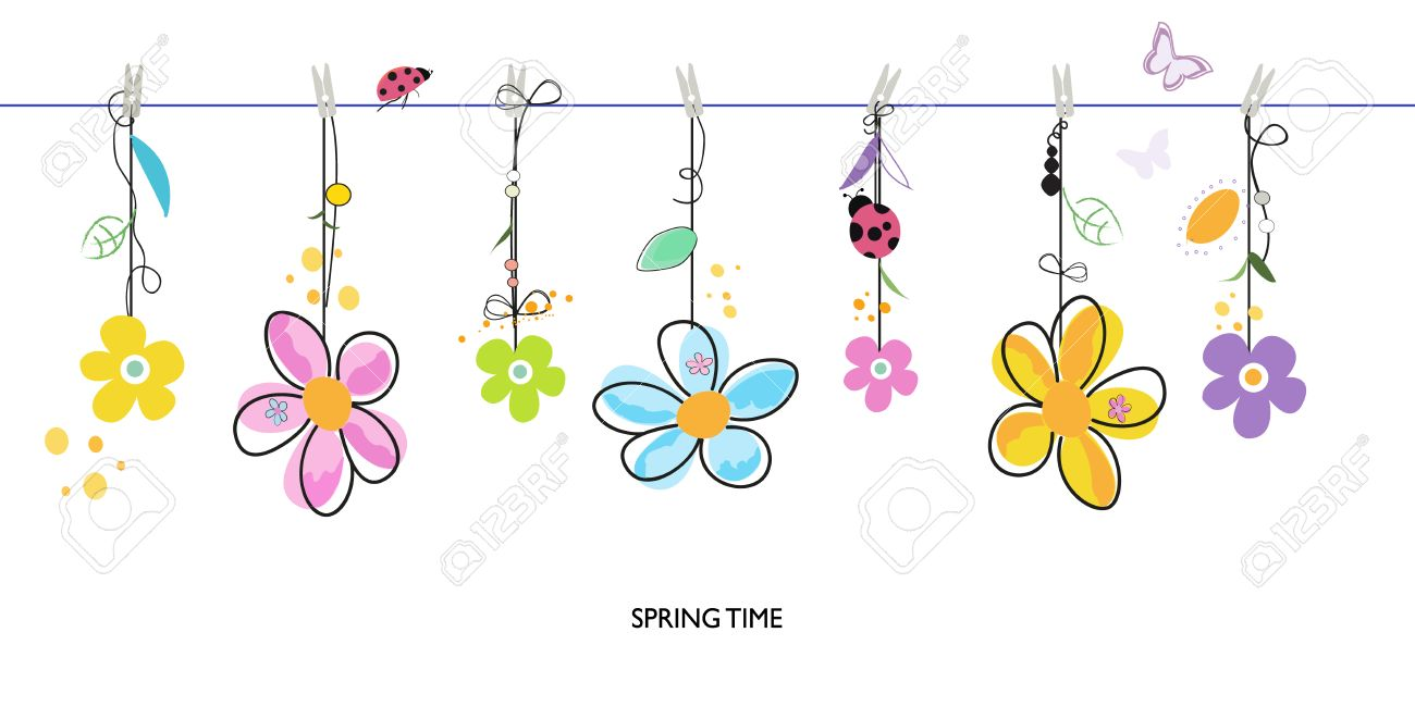 Spring time background with hanging colorful daisy floral border...