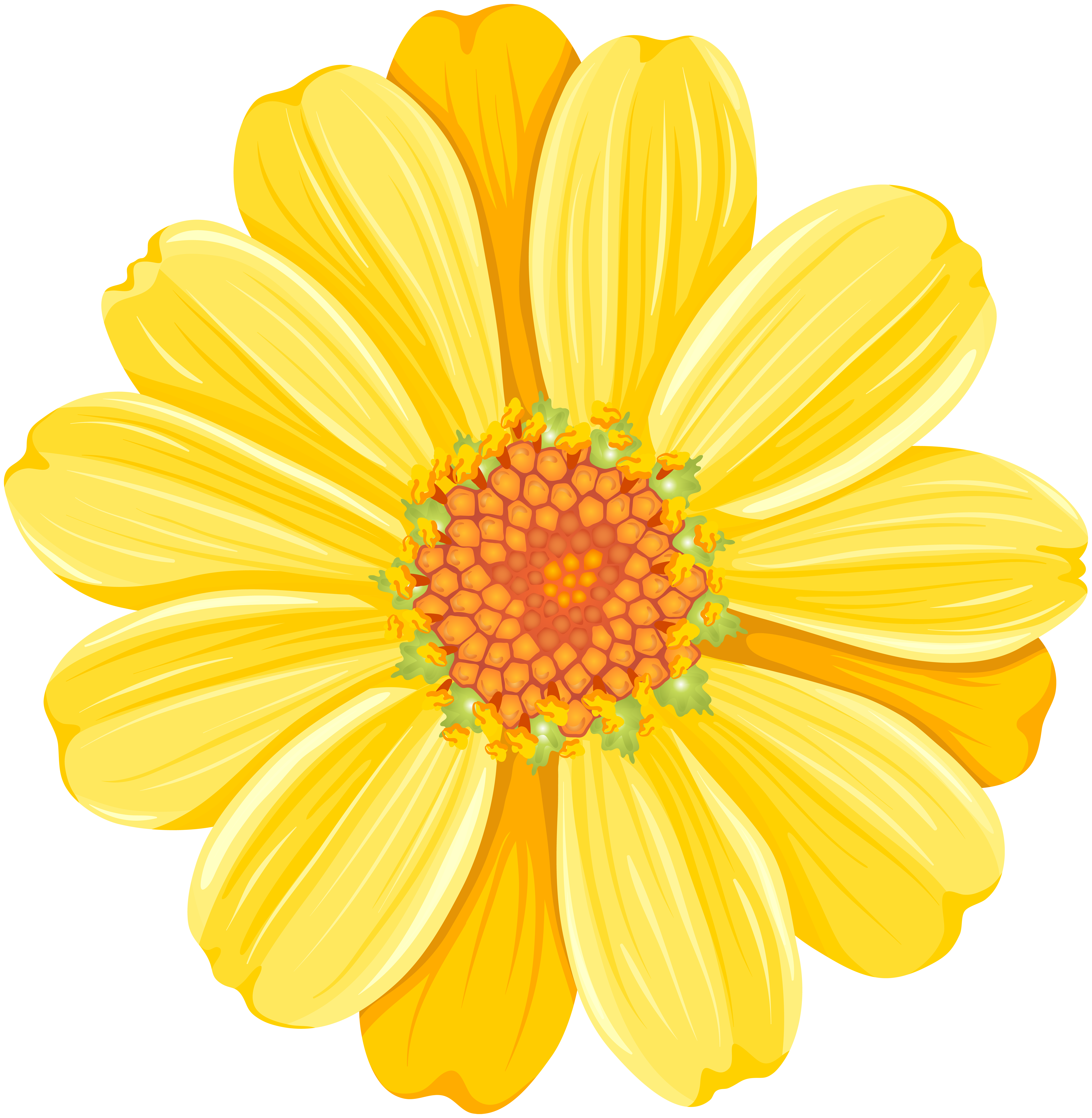 Yellow Daisy PNG Transparent Clip Art Image.
